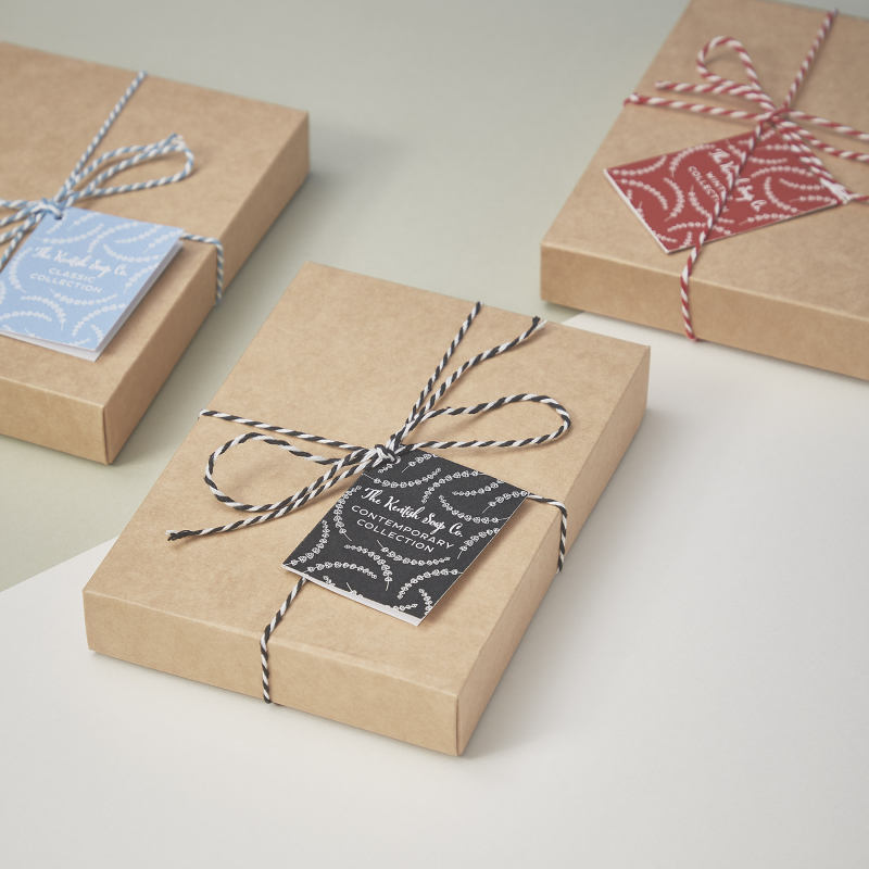 We have a range of gift boxes, from soap collections shown in this image to those including other products in our range. All of the gift boxes are plastic-free and come in compostable or recyclable packaging. They're all vegan-friendly too.