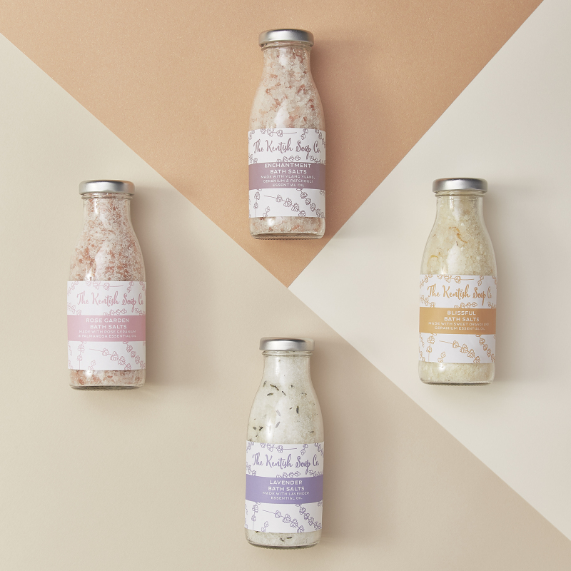 Coming in 4 fragrances, our natural bath salts look lovely in their milk-bottle inspired bottles. And they smell divine.