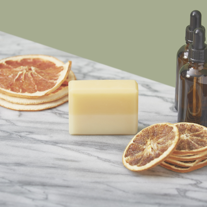 Our Sunshine Cold Process Soap is fragranced with Grapefruit, Sandalwood and Orange essential oils and is coloured with natural annatto seed. Vegan-friendly. Ave. weight 85g
