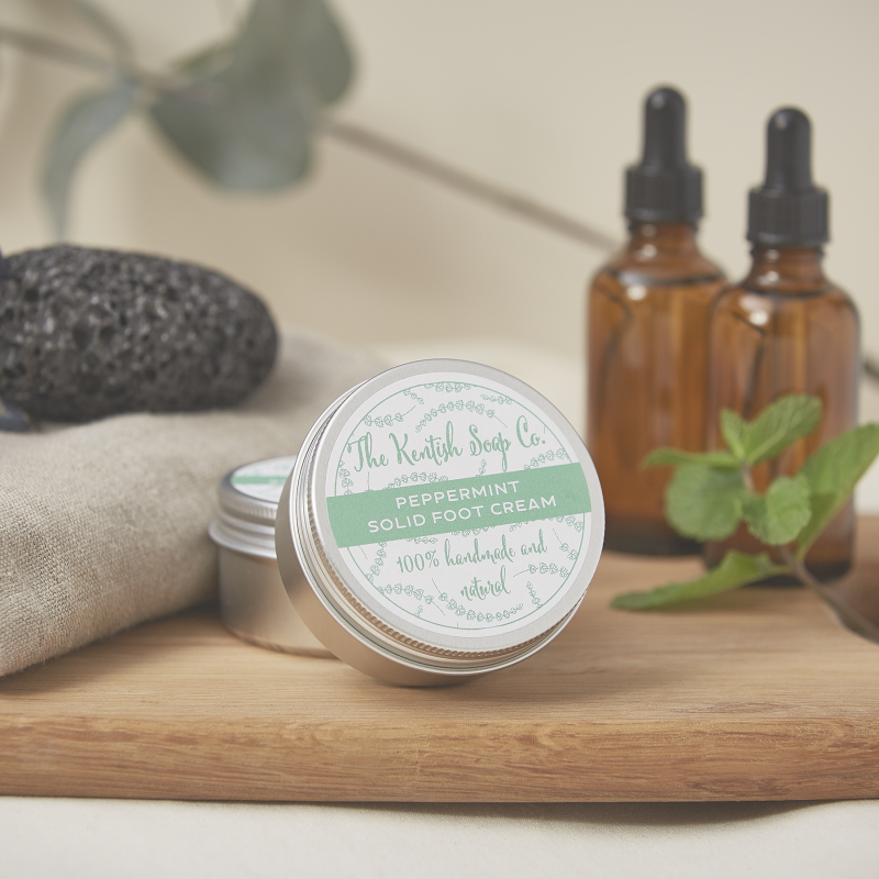 A solid foot cream with Olive Oil, Mango Butter and Rice Bran Wax. Fragranced with refreshing Peppermint, Eucalyptus and Pine essential oils known for their anti-bacterial and anti-fungal properties. Comes in a handy storage tin for travelling. Vegan