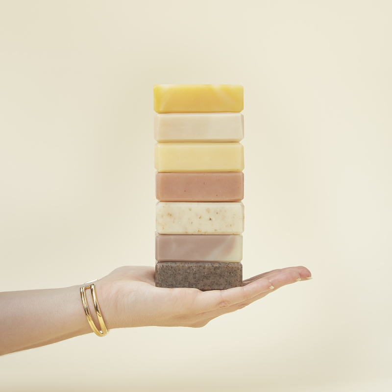 We have a wonderful selection of sustainable bars, all free from artificial colours and fragrances and suitable for vegans. They all come in plastic-free packaging too.