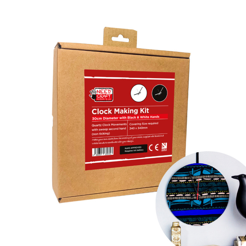 Make your own clock with our easy to use DIY kits. Simply laminate your covering Fabric, Wallpaper or Digital print to the self-adhesive panel and follow the step-by-step instructions supplied in your box, it's that easy.