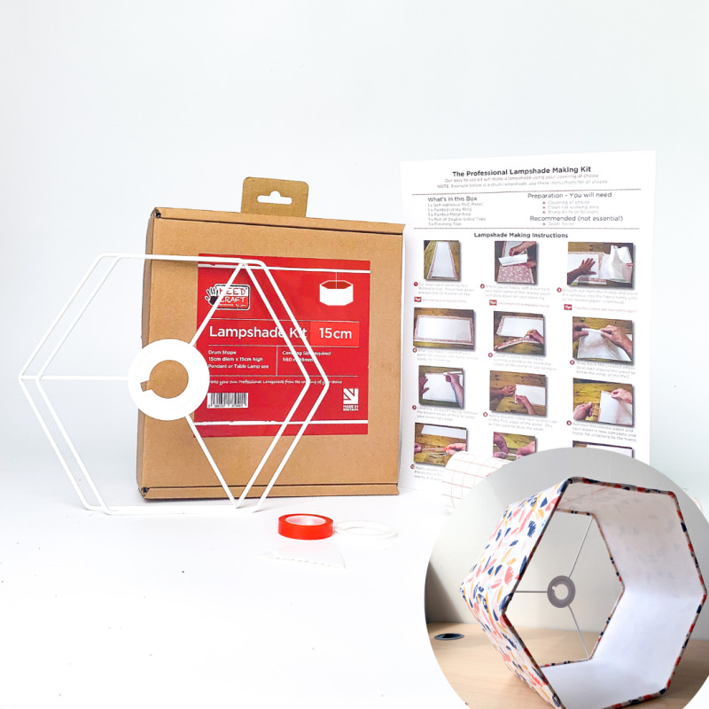 Our kits make professional Hexagon lampshades that can be used all around the home to match any colour or any room theme. The kits will connect with UK and European Lampholders or Pendant Fittings, and also USA Harp & Finial fittings.