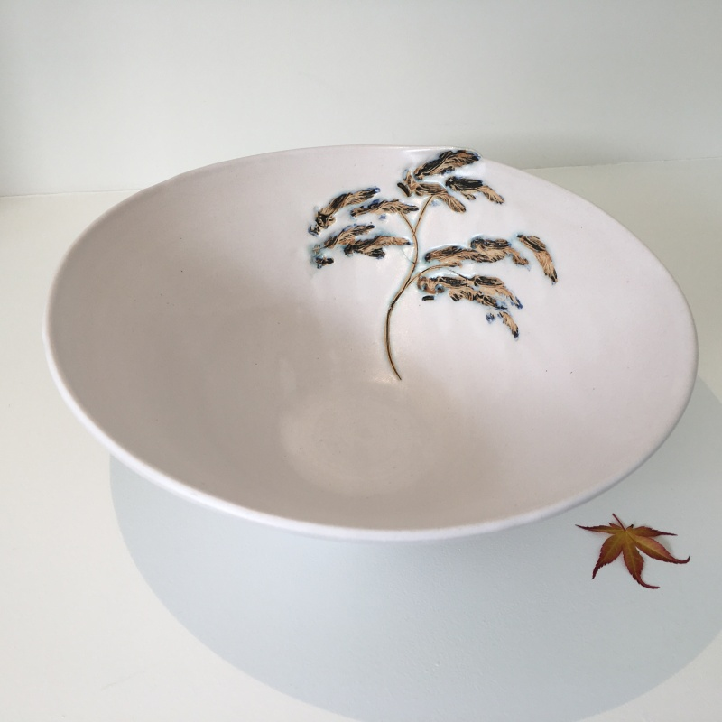 Hand thrown stoneware, decorated with a tin glaze