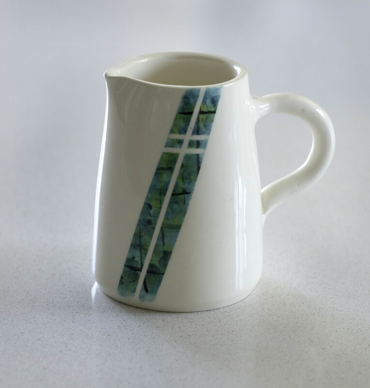 White earthenware. Collaboration - hand thrown by Jane, hand painted by Avis Boreham