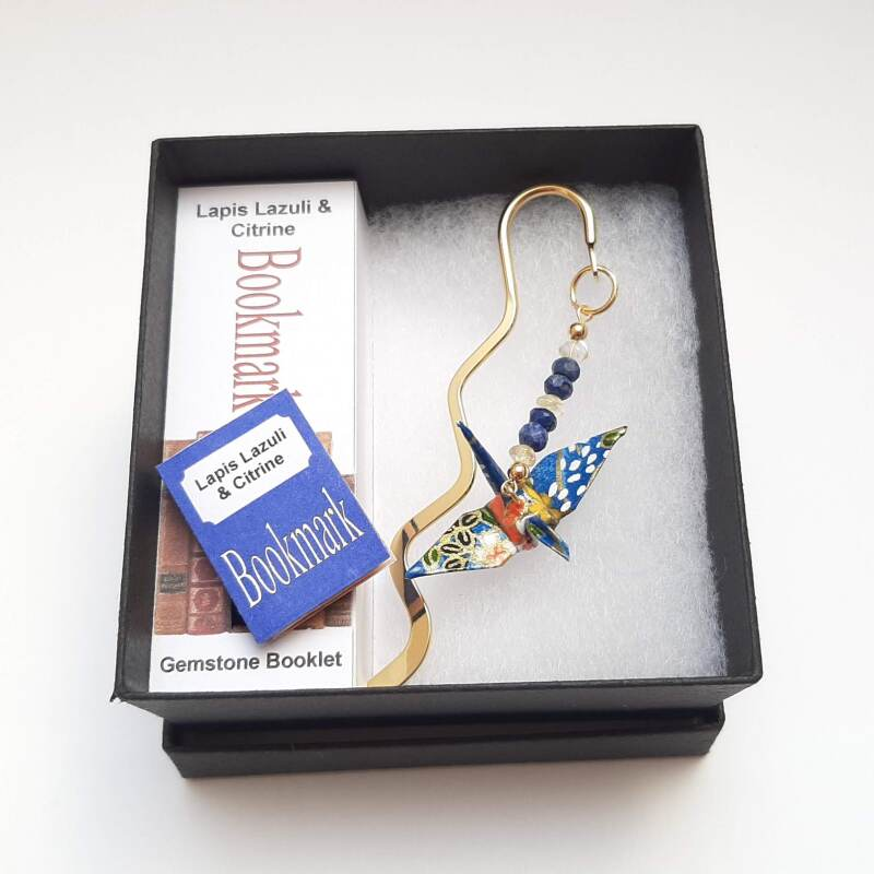 Each bookmark includes a handmade book. Various gemstone combinations available.