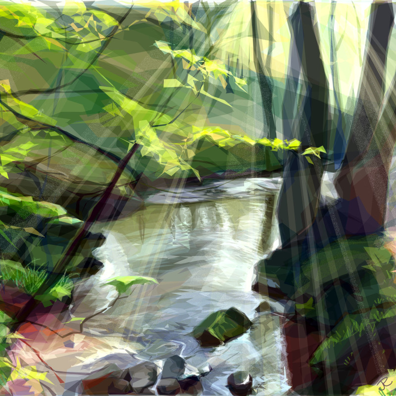 One of three prints in the 'Wood and Stream' collection. Available in 3 sizes. Cards also available.
