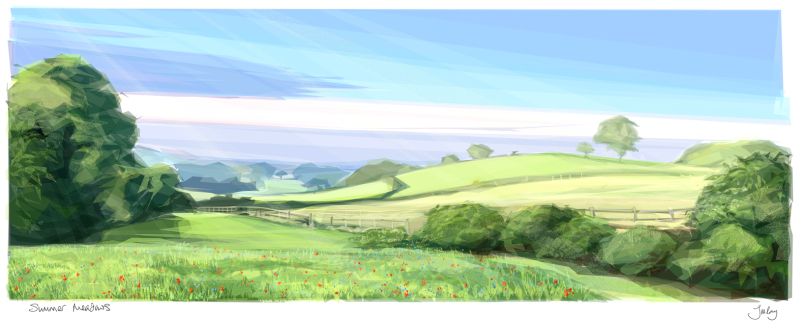 Available in 2 sizes, 'Summer Meadows ' is the first of my Countryside prints.  Cards also available.