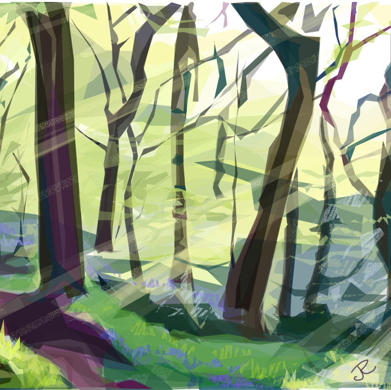 One of four images in 'The Bright Woods' collection. Available in 2 sizes. Cards also available.