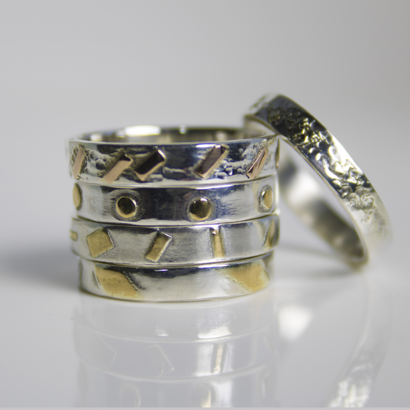 Argentium silver with 22 carat gold or 18 carat red gold accents