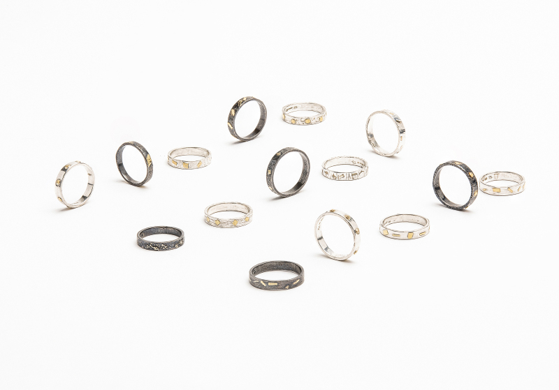 Argentium silver rings with 22 carat gold accents. Are proving popular as an alternative wedding ring.