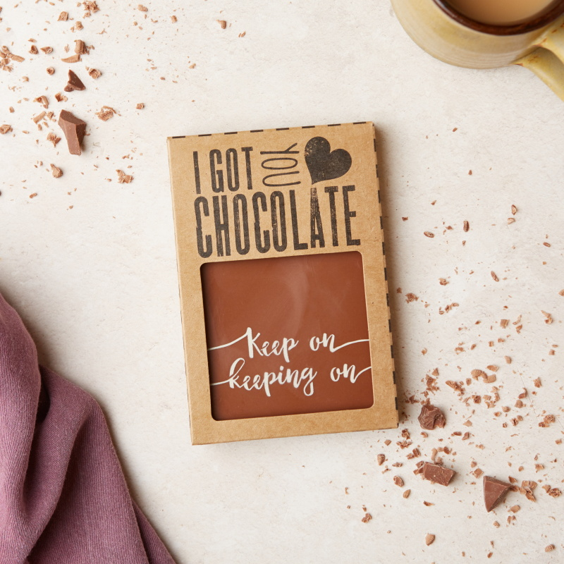 A deliciously tasty bit of chocolate therapy - these 'Keep on keeping on' chocolate bars make the perfect cheer up gift. Wholesale price:  £3.10 (RRP £7.45)