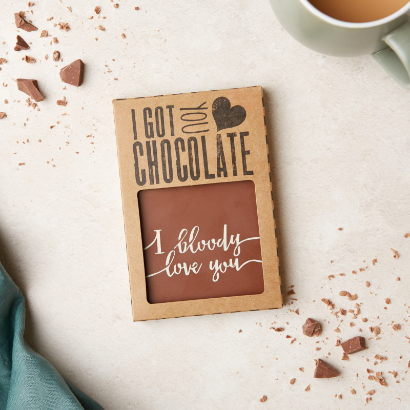 This scrummy, handmade chocolate bar with a cheeky 'I bloody love you' message makes a great gift for partners. Wholesale price:  £3.10 (RRP £7.45)