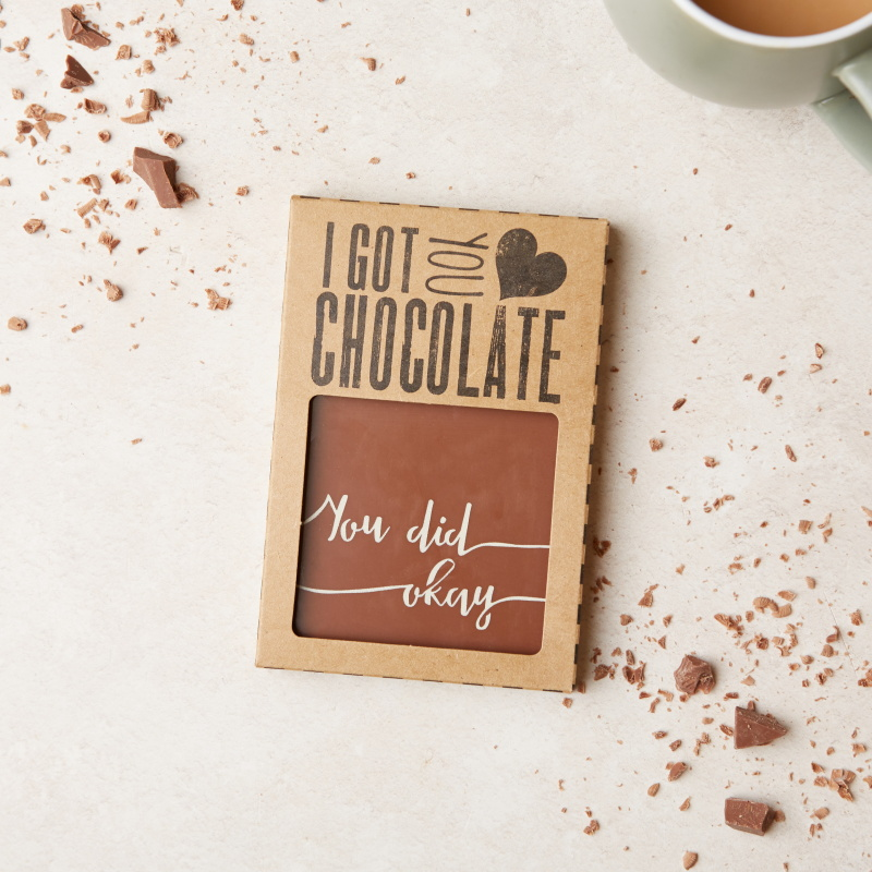 A scrumptious, hand crafted chocolate gift to say well done... these 'You did okay' chocolate bars will keep their feet firmly on the ground! Wholesale price:  £3.10 (RRP £7.45)
