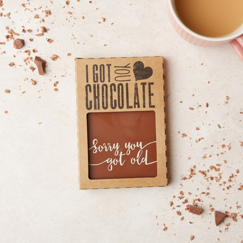 Treat your loved ones with a delicious birthday chocolate gift as well as a cheeky jibe with our 'Sorry You Got Old' Belgian milk chocolate bars. Wholesale price:  £3.10 (RRP £7.45)