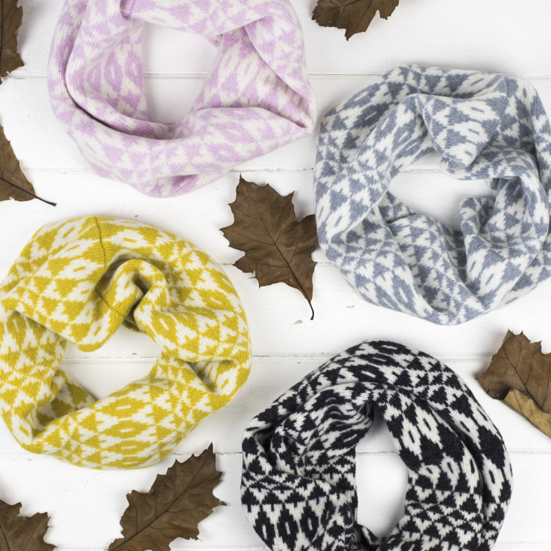 Luxury knitted lambswool cowls/snoods, knitted in our Surrey studio and made from quality British spun lambswool.