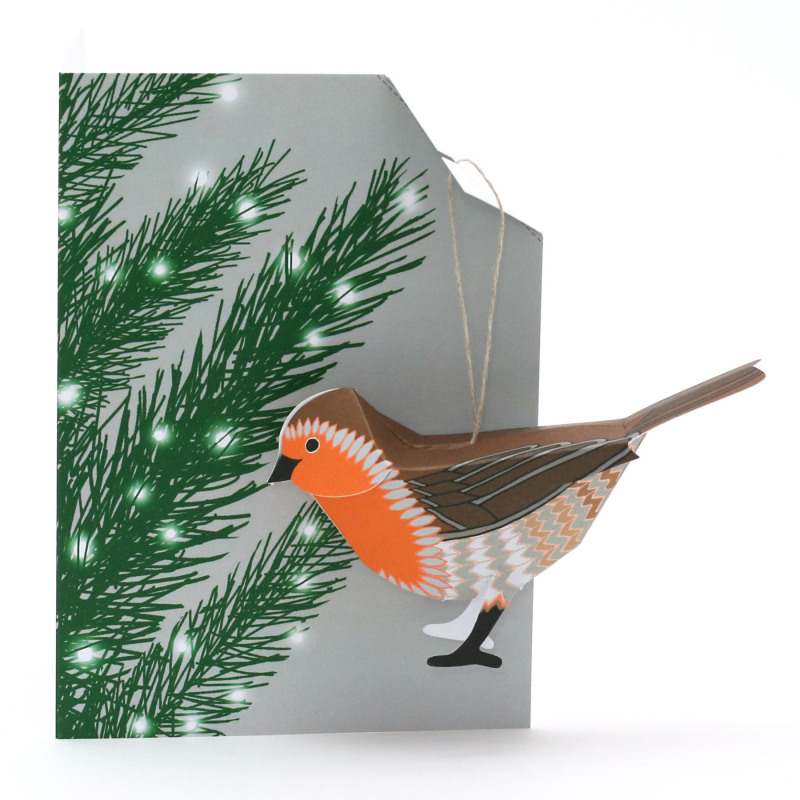 Robin Christmas card/decoration - a gift and a card in one.