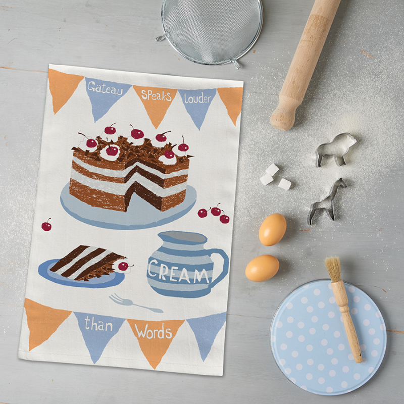 Baking Mad tea towel range  –  With a little inspiration from William Shakespeare for the wording…. 6 designs in the range.  Printed on 8oz white half panama 100% cotton. Individually wrapped with paper belly band.  Made in London.