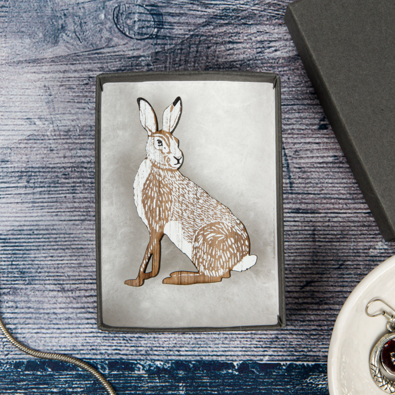 Perkins & Morley's Wilder brooch collection embraces a subtle Scandinavian feel. Printed on 5mm laser cut Walnut. Each brooch comes with a grey or natural colour craft paper covered box. Made in Devon.