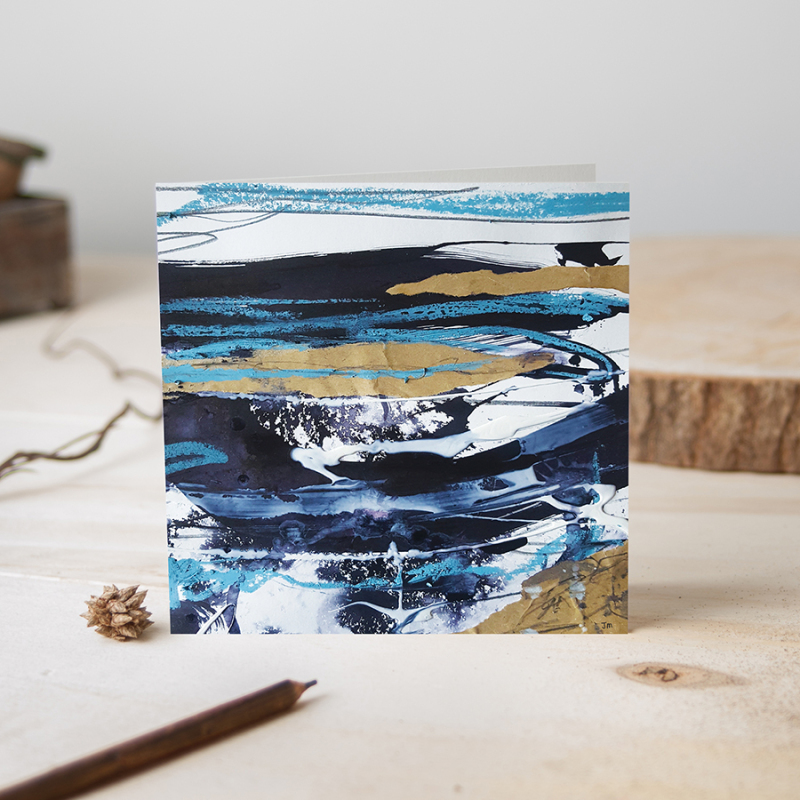 A range of cards featuring abstract paintings evoking landscapes, weather, countryside and all the feelings around wilderness. 8 designs in the range so far. Printed on recycled card with recycled paper envelope.