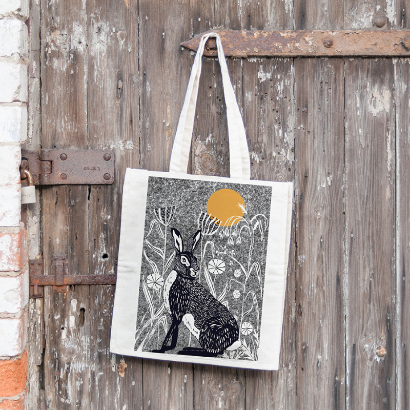 WILDER range tote bags; animal illustrations with trees, grasses and other plants ; giving a Skandi natural vibe.  Unbleached (natural oatmeal finish) cotton tote bag, digitally printed by skilled craftspeople in the UK.