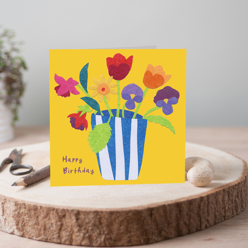 Bright & beautiful card range featuring floral collages by Jill Perkins. Sure to lift the spirits!