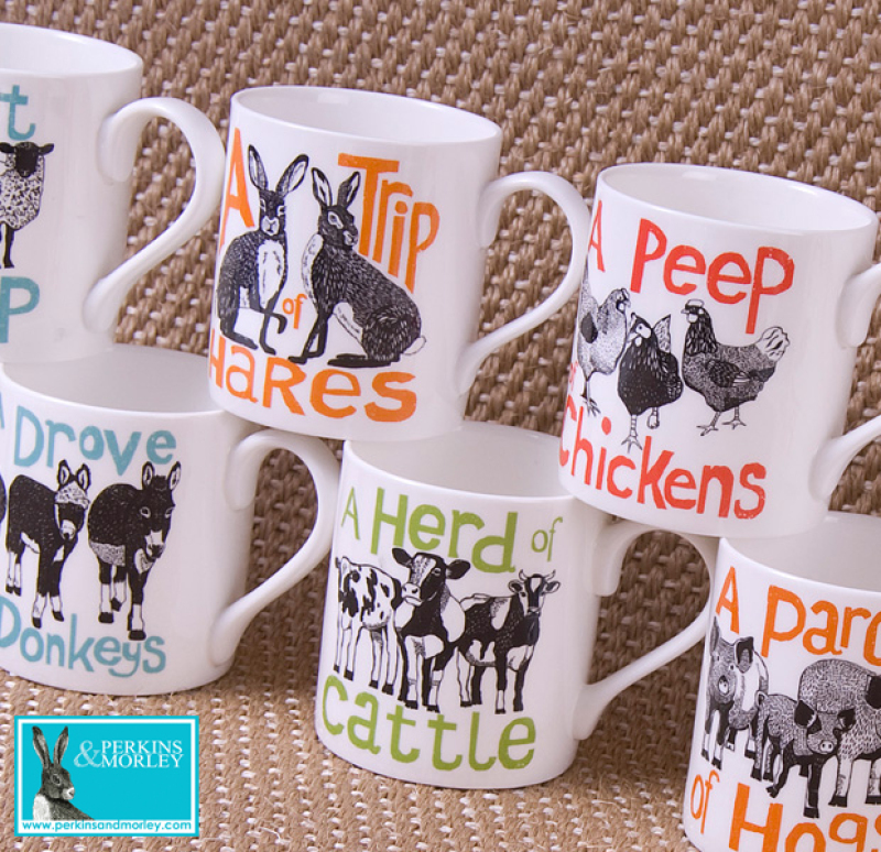 Each mug features a collective noun creature illustration with a smaller version of one of the animals on the reverse of the mug. Our large mugs are 90mm high with a diameter of 89mm. Made in Stoke on Trent. Fine bone china.