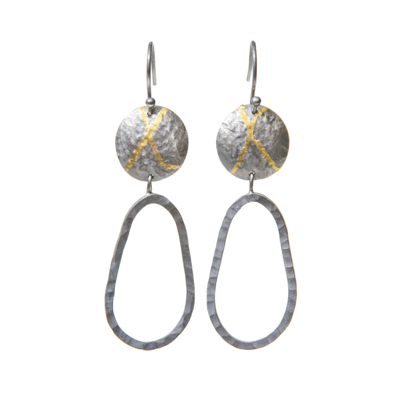 These earrings have a drop of 55mm.  The top part of the earrings have been textured and domed, while the bottom hoop has been hammered and moves.  The earrings have been oxidised to enhance the 24-carat gold Keum Boo.