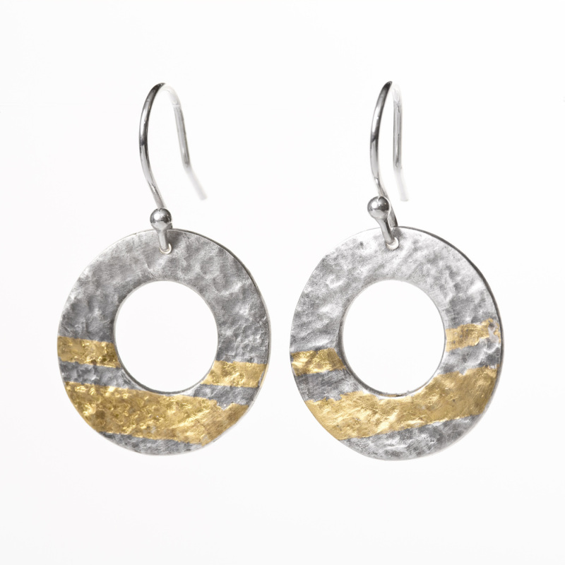 An unusual pair of drop earrings. That have been oxidised to enhance the 24-carat gold stripes, which have been applied using the ancient Korean technique of Keum Boo.