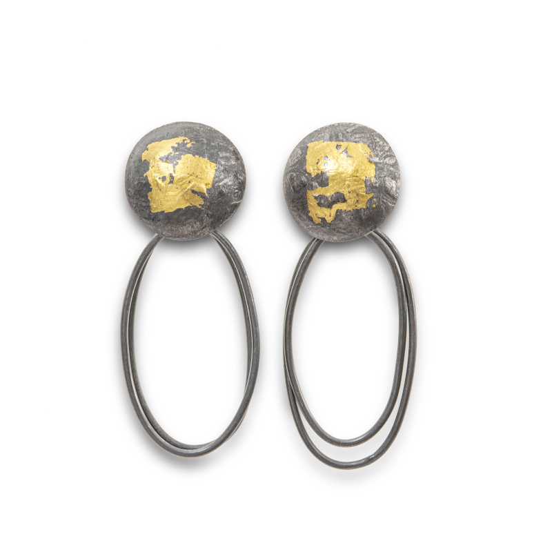Handcrafted in silver, oxidised to enhance the gold and texture. The top dome measures 14mm across, the overall drop is 40mm.